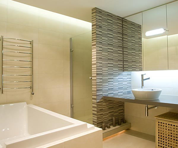 Bathroom with various tiles