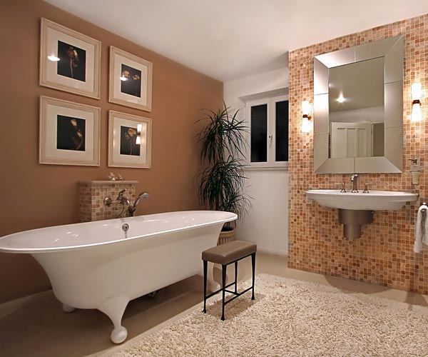 Fitted bathroom with free standing bath